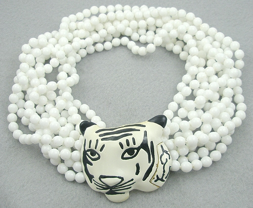 Lane, Kenneth J. - Kenneth Lane White Tiger Torsade Necklace