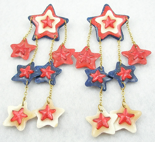 Patriotic Jewelry - JEZ Patriotic Stars Dangle Earrings