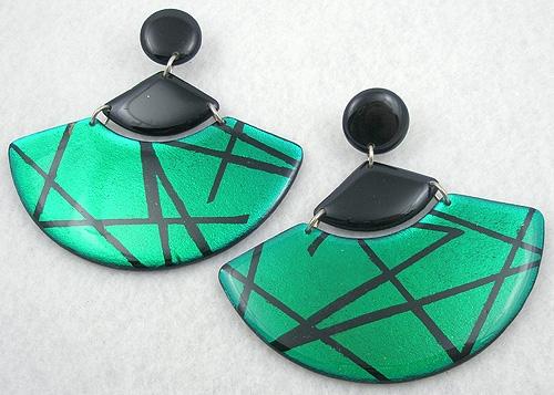Earrings - Green & Black Fan Chandelier Earrings