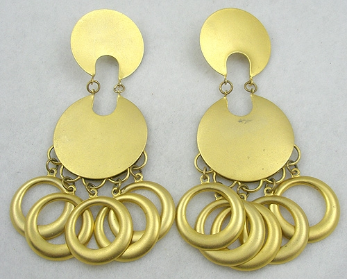 Trend:Wearable Art Earrings - Matte Gold Dangling Hoop Earrings