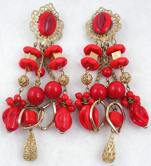 Summer Hot Colors Jewelry - Gold Filigree Red Glass Bead Chandelier Earrings
