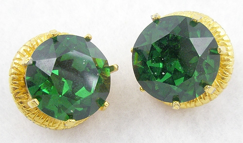 Earrings - Green Rhinestone Earrings