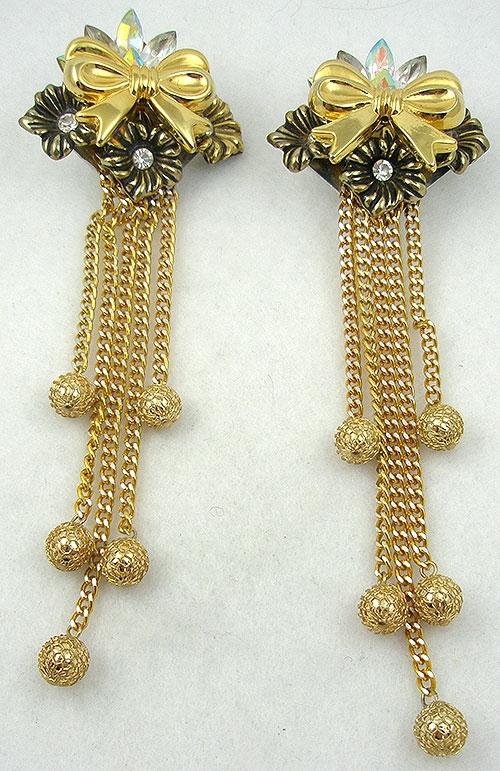 Earrings - 1980's Golden Bow Collage Earrings