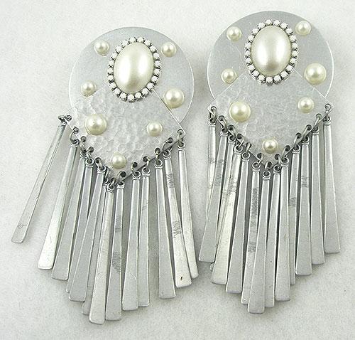 Earrings - 1980's Silver Tone Faux Pearl Dangle Earrings