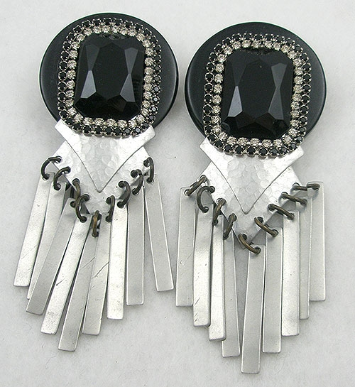 Ethnic & Boho - Vintage '80's Black Earrings with Silver Dangles