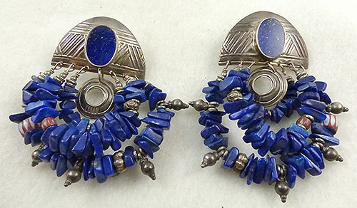 Newly Added Tabra Boho Triple Loop Lapis Earrings