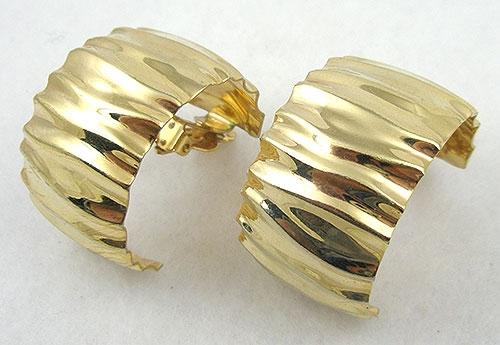 Earrings - Wavy Gold Tone Semi Hoop Earrings