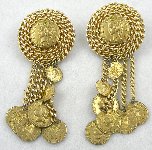 Earrings - Dangling Gold Coins Gold Chains Earrings