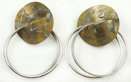 Newly Added Boho Brass and Silver Hoop Earring
