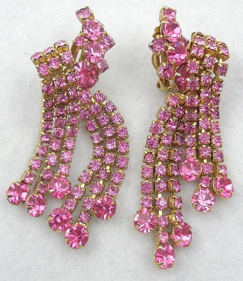 Earrings - Pink Rhinestone Dangle Earrings