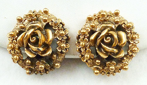 Earrings - Tortolani Gold Rose Earrings