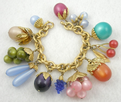"Connoisseur Collection - Napier Lucite Moonglow ""Tropicana"" Charm Bracelet"