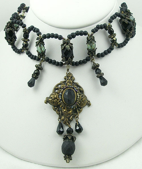 Necklaces - Maya Black Glass Bead Choker Necklace