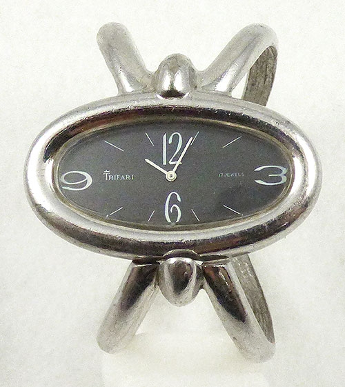 Newly Added Trifari Modernist Black Oval Wrist Watch