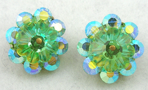 Crystal Bead Jewelry - Green Margarita & Aurora Cystal Earrings