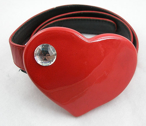 Hearts - Red Heart Leather Belt