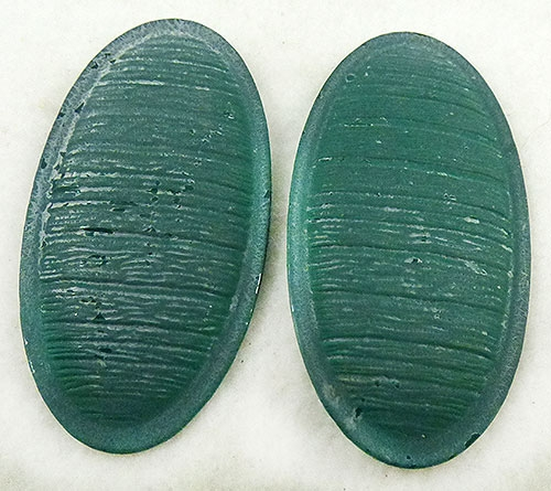 Newly Added Distressed Green Metal Oval Earrings