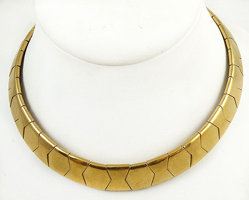 Necklaces - Gold Segmented Torc Collar Necklace