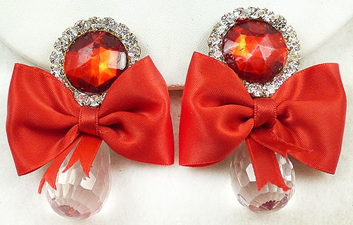 Newly Added Red Bow Crystal Drop Rhinestone Collage Earrings