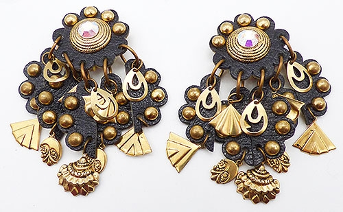 Newly Added Black Leather Gold Charms Statement Earrings