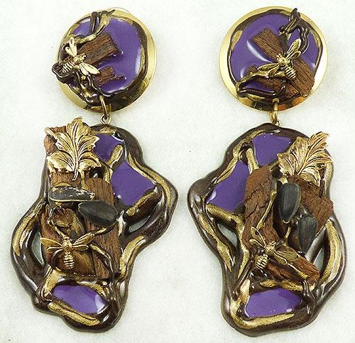 Earrings - Purple Resin Collage Earrings
