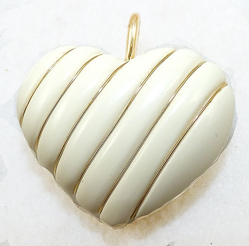 Hearts - Wire Wrapped Ivory Plastic Heart Pendant
