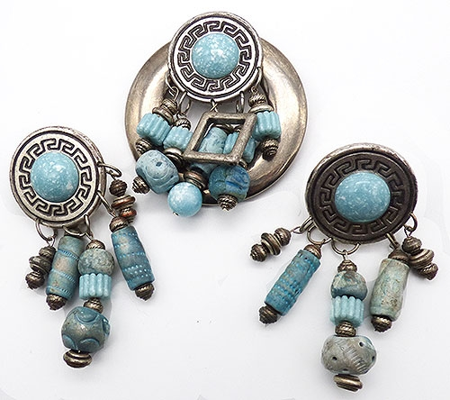 Sets & Parures - Artisan Aqua Beads Dangles Brooch Set