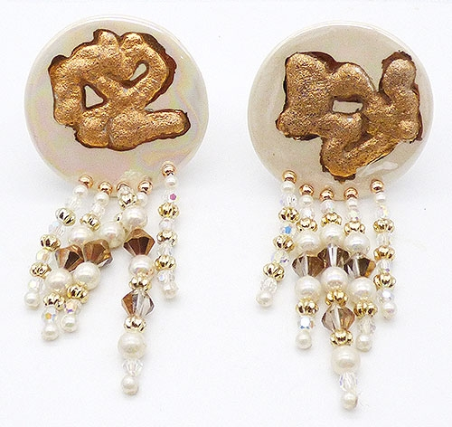 Earrings - Off White and Gold Ceramic and Bead Earrings
