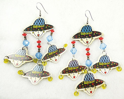 Figural Jewelry - People & Hands - Boom Boom Wiz 1989 Women in Hats Earrings