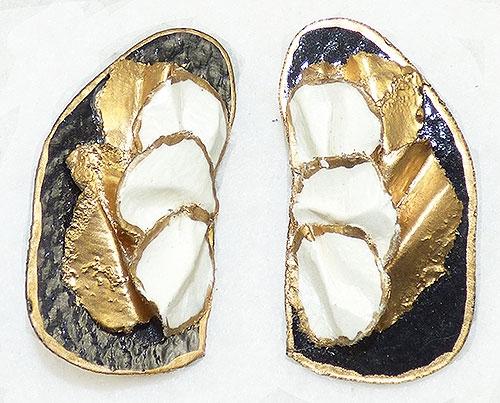 Earrings - Black Gold and White Papier Maché Earrings