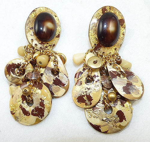 Newly Added Cream and Brown Dangling Discs Earrings