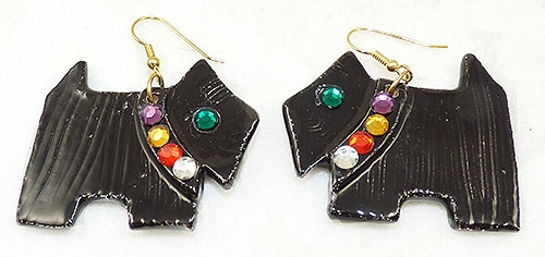 Newly Added Black Glass Scottie Dog Earrings