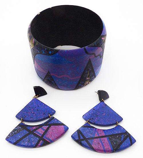 Sets & Parures - Vibrant Abstract Wood Bangle Earrings Set
