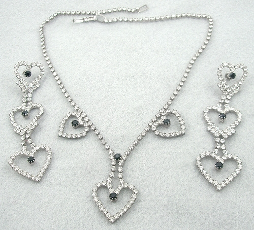 Hearts - Rhinestone Heart Necklace & Earrings Set