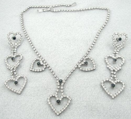 Sets & Parures - Rhinestone Heart Necklace & Earrings Set