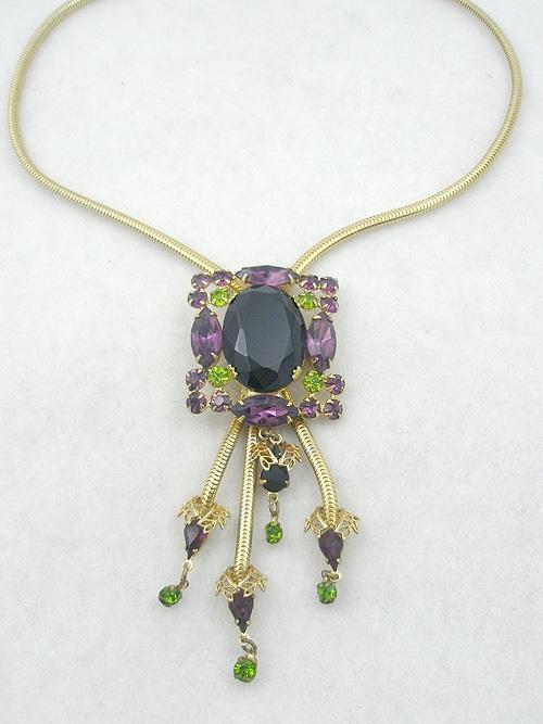 Necklaces - Black & Amethyst Rhinestone Bolo Necklace