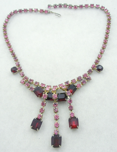 Necklaces - Pink and Red Rhinestone Necklace