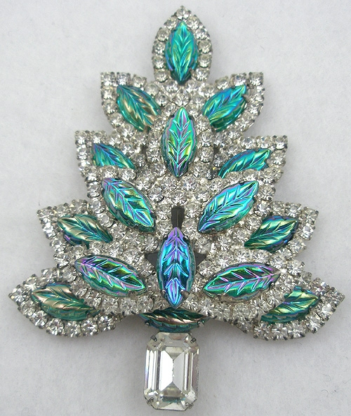Christmas and Holidays - Molded Glass Leaves Christmas Tree Brooch