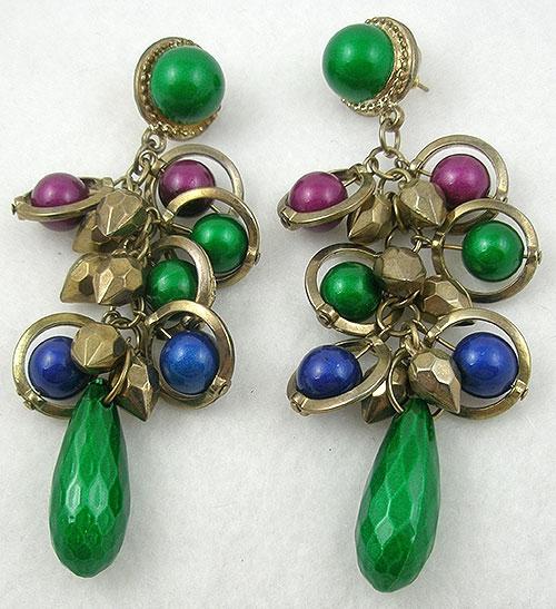 Earrings - Green, Blue and Violet Bead Earrings