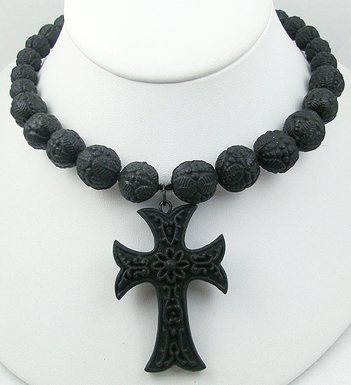 Maltese Crosses - Victorian Vulcanite Cross on Beaded Necklace