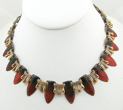 Renoir/Matisse - Matisse Red & Black Enameled Copper Necklace