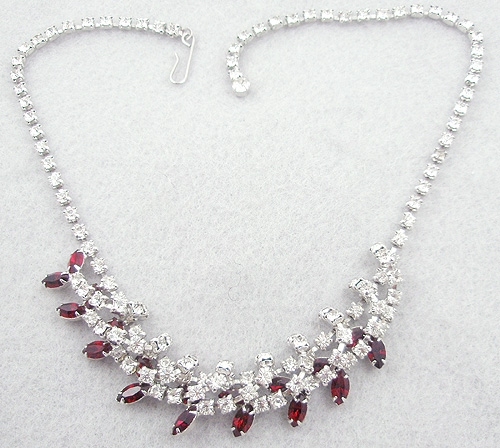 Necklaces - Rhinestone & Red Navette Necklace