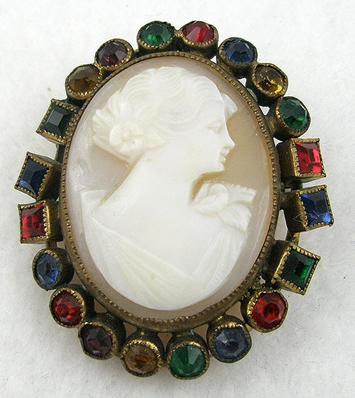 Cameos Intaglios Portraits - Czech Cameo in Jeweled Frame Brooch