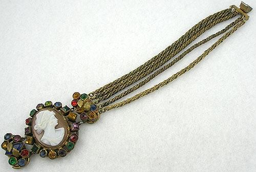 Cameos Intaglios Portraits - Czech Jeweled Cameo Bracelet