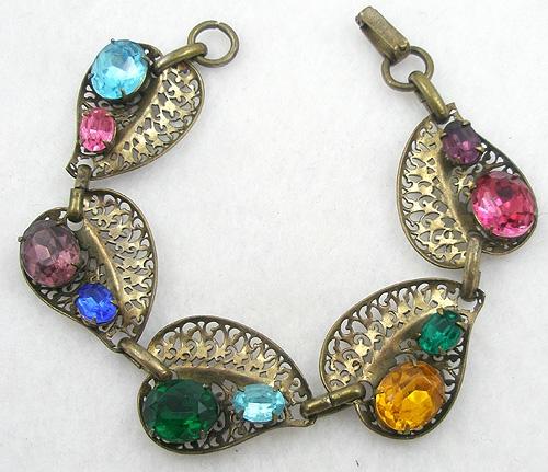 Bracelets - Brass Filigree Leaf Rhinestone Bracelet