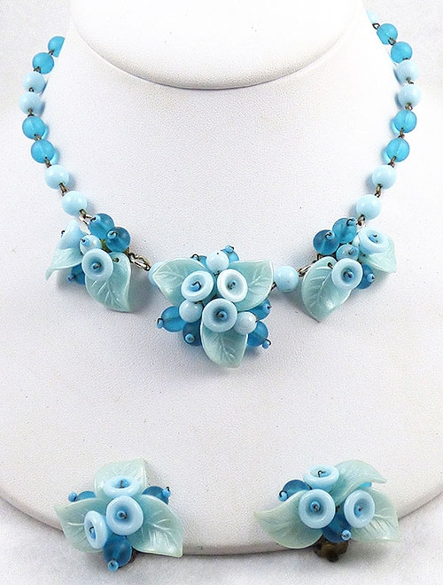 Germany - West Germany Aqua Flowers Necklace Set