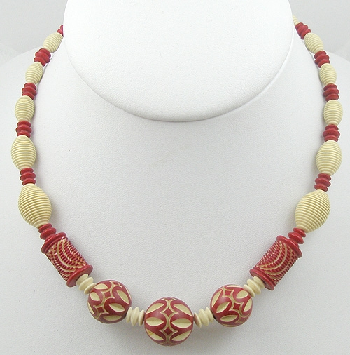 Necklaces - Red Over-Dyed Ivory Galalith Bead Necklace