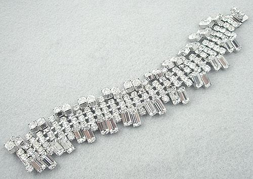 Bridal, Wedding, Special Occasion - Wide Rhinestone Baguette Bracelet