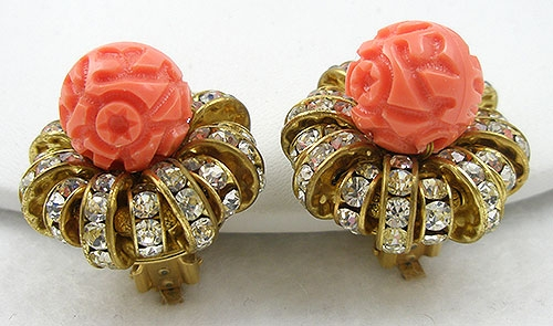 Lane, Kenneth J. - K.J.L. Rhinestone Rondelle & Coral Glass Bead Earrings