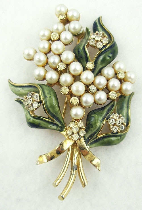 Brooches - Francois (Coro) Enameled Pearl Floral Brooch